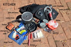 Water Purifier: MSR Gardian, Water Bladders: MSR Dromedary, Camp Stove: MSR Whisperlite, Pots/pans: MSR, Army Swiss Knife