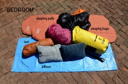 Tent: 3-person Big Agnes, Sleeping Bags: Marmot and REI, Sleeping Pads: Thermarest, Pillows: Thermarest