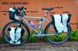 Bike: Surly Long Haul Trucker, Panniers: Ortlieb, Bottles: REI Purist, Bike Seat: Specialized