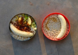 Olivia's oatmeal with cinnamon, apple and banana (left) and Simon's porridge with honey and banana (right)