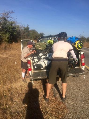 Loading up the bikes to pass through Batoka