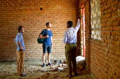 Touring the new classrooms still under construction