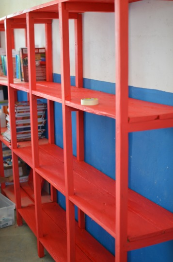 Freshly painted shelves for teacher's resources