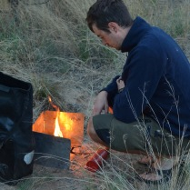 Simon making a fire - almost as easily as the bushmen