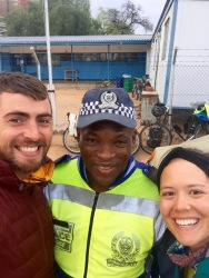 Friendly Botswana cop - set us up with a space to camp