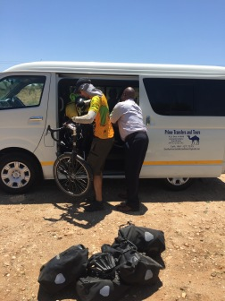 Getting a ride for the final stretch into Windhoek