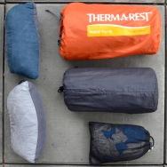 Our bedding! Sleeping mats, pillows, and silk liner