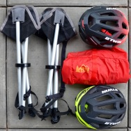 New gear! Two stools, new helmets, and a 'flash pack'